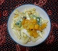 Penne in cream sauce with spinach, pumpkin and mozzarella